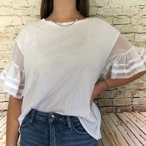 KAARI blue white top with ruffle mesh sleeve